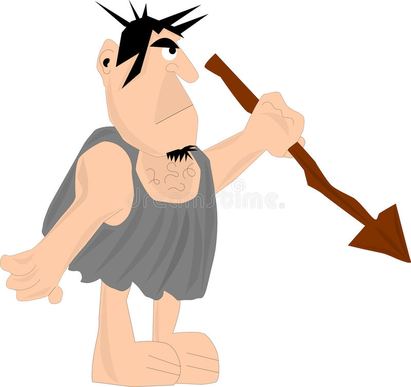Hombre de las cavernas con la lanza imagen de archivo