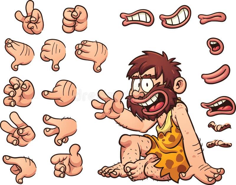 Hombre de las cavernas de la historieta stock de ilustración