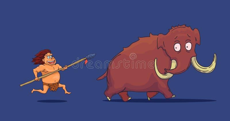 Hombre de las cavernas de la historieta con la lanza que caza el mamut Vector stock de ilustración