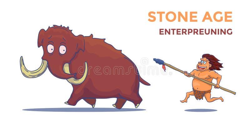 Hombre de las cavernas de la historieta con la lanza que caza el mamut Vector libre illustration