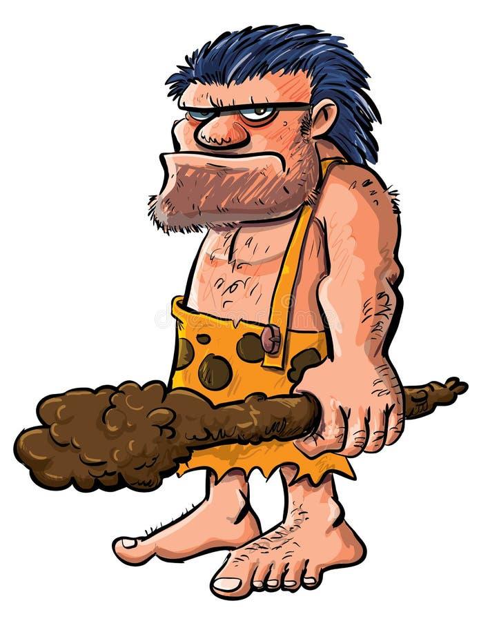 Hombre de las cavernas de la historieta con un club. stock de ilustración