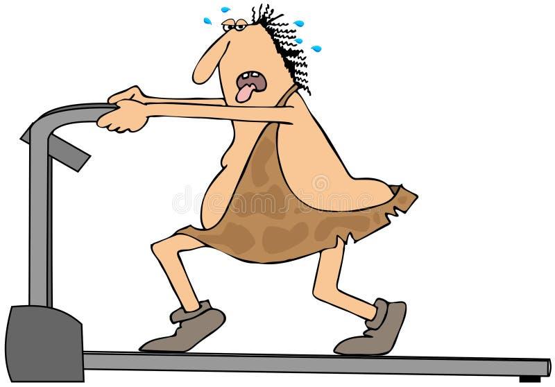 Hombre de las cavernas en una rueda de ardilla ilustración del vector
