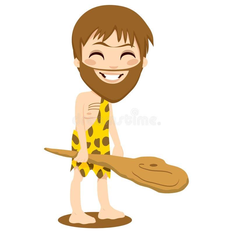 Hombre de las cavernas feliz ilustración del vector