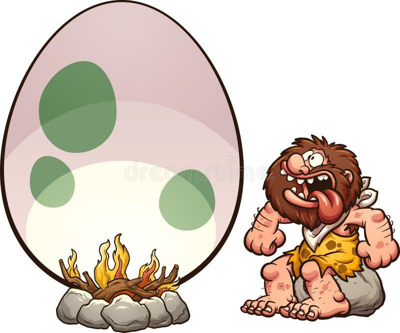 Hombre de las cavernas hambriento stock de ilustración