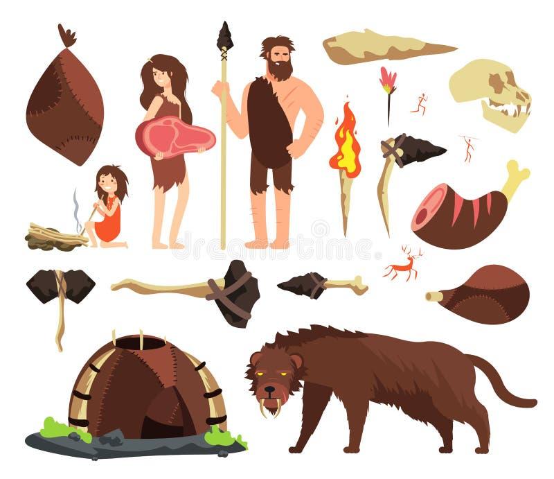 Hombre de las cavernas de la Edad de Piedra Búsqueda de las herramientas neolíticas de la gente, gigantescas y prehistóricas Cara libre illustration