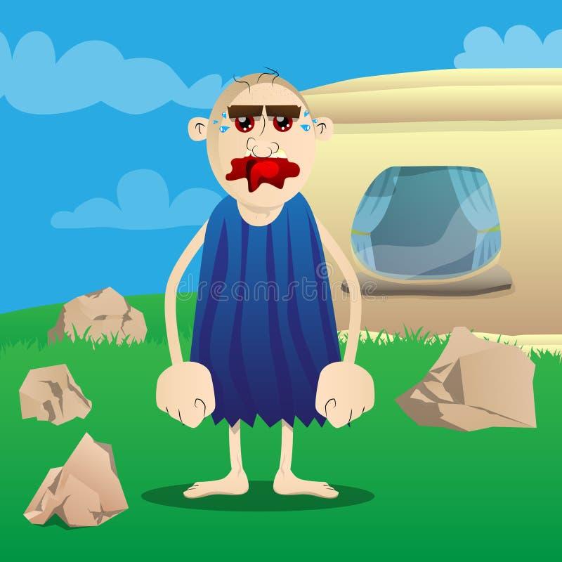 Hombre de las cavernas de la historieta de la situación de la Edad de Piedra stock de ilustración