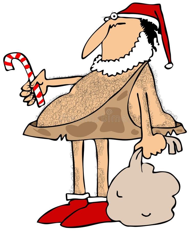 Hombre de las cavernas Papá Noel ilustración del vector