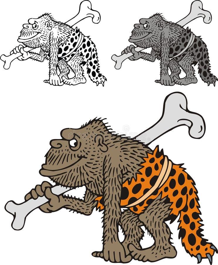 Hombre de las cavernas prehistórico stock de ilustración