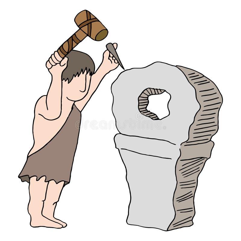 Hombre de las cavernas que inventa la rueda libre illustration