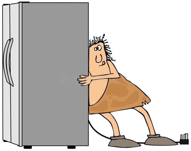 Hombre de las cavernas que mueve un refrigerador stock de ilustración