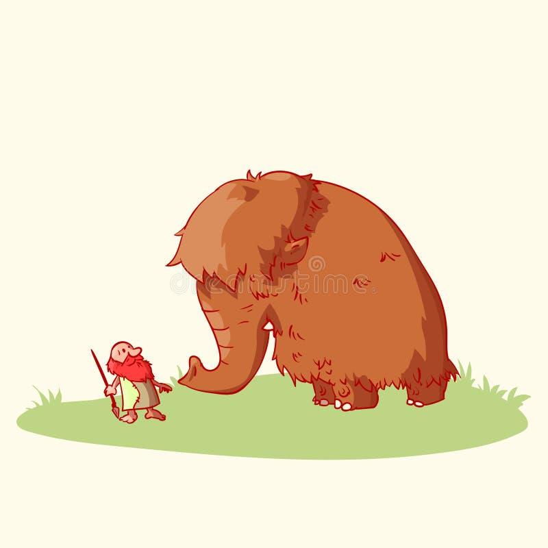 Hombre de las cavernas y mamut de la historieta stock de ilustración