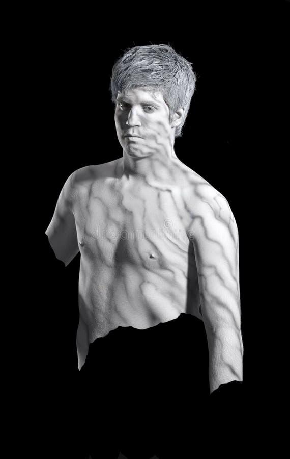 Hombre de mármol Bodypainted foto de archivo