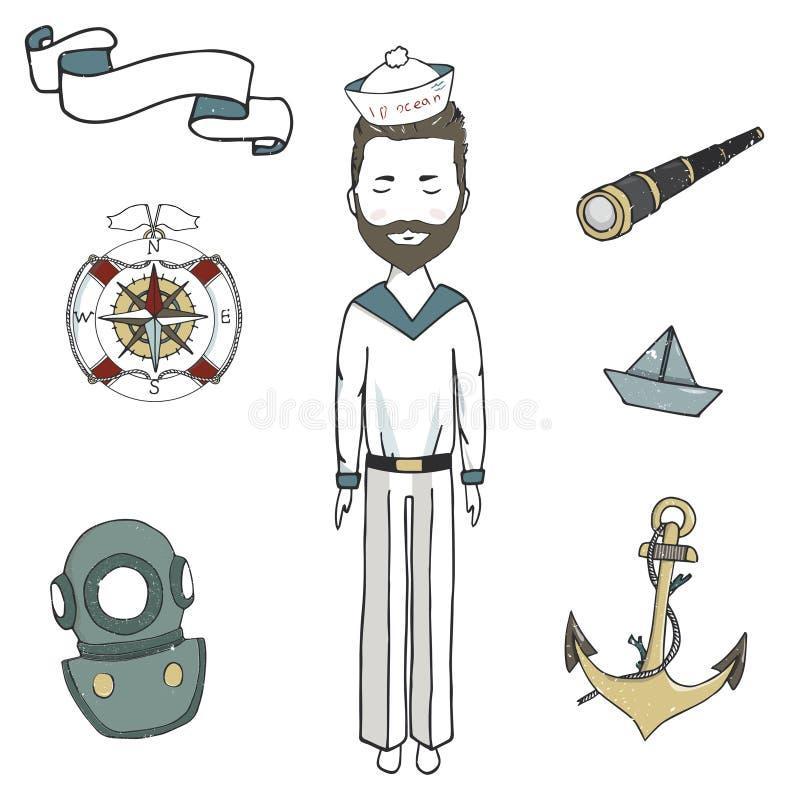 Hombre de mar, hombres del capitán, ejemplo joven del dibujo del marinero de la nave de la cinta del catalejo del ancor del vecto libre illustration