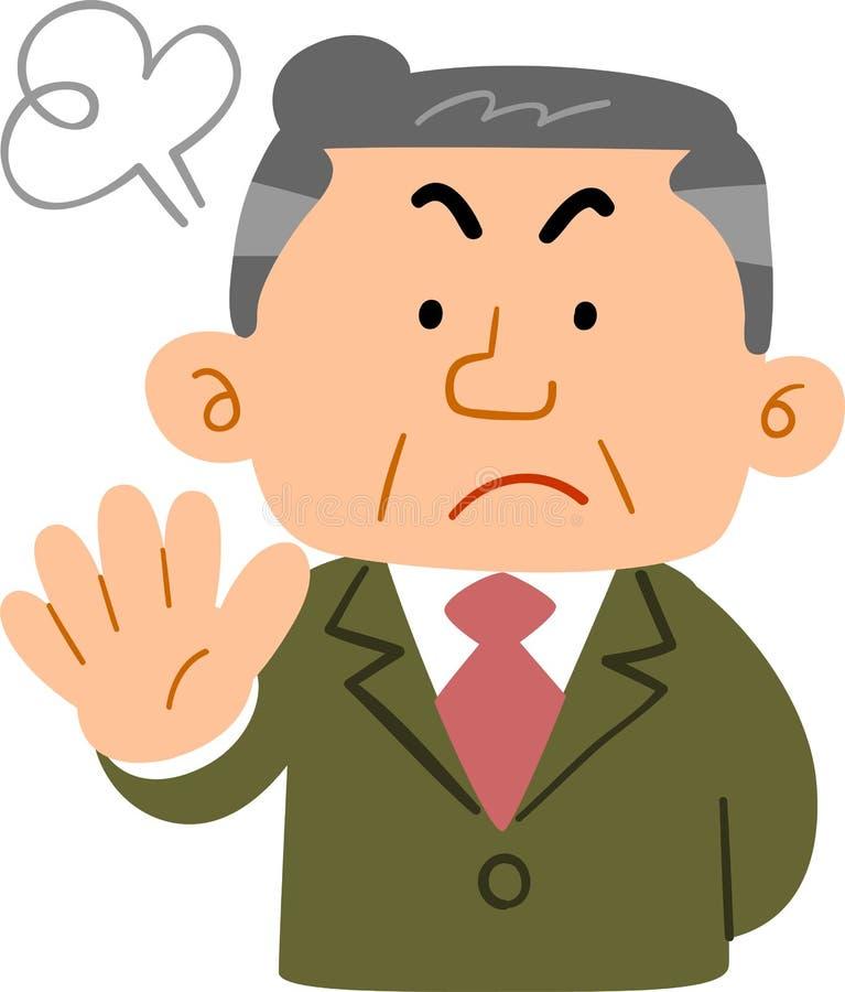 Hombre de mediana edad en un encargado del _del trabajo de la negación de la demostración del traje stock de ilustración
