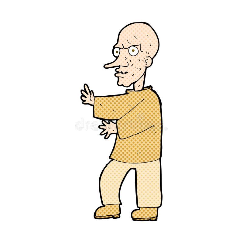 hombre de mirada malo de la historieta cómica ilustración del vector