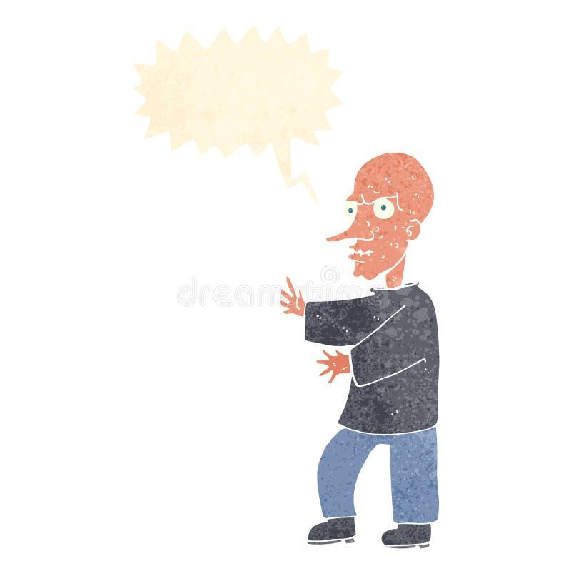 hombre de mirada malo de la historieta con la burbuja del discurso ilustración del vector