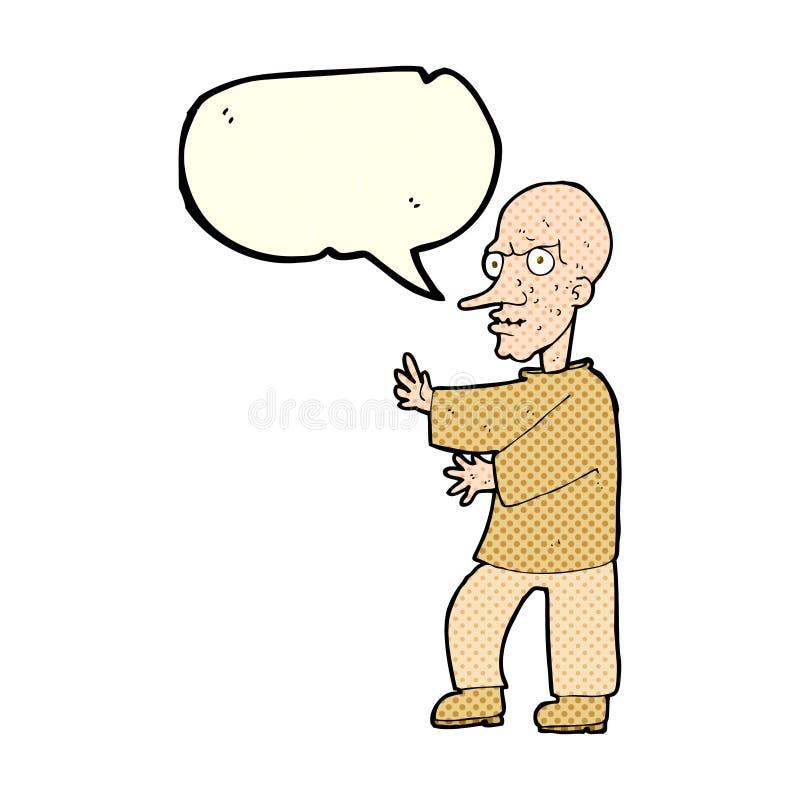 hombre de mirada malo de la historieta con la burbuja del discurso libre illustration