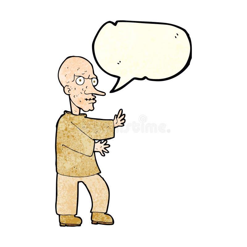 hombre de mirada malo de la historieta con la burbuja del discurso stock de ilustración