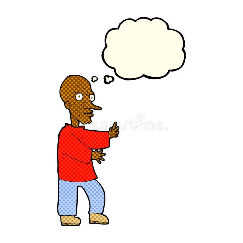 hombre de mirada malo de la historieta con la burbuja del pensamiento libre illustration