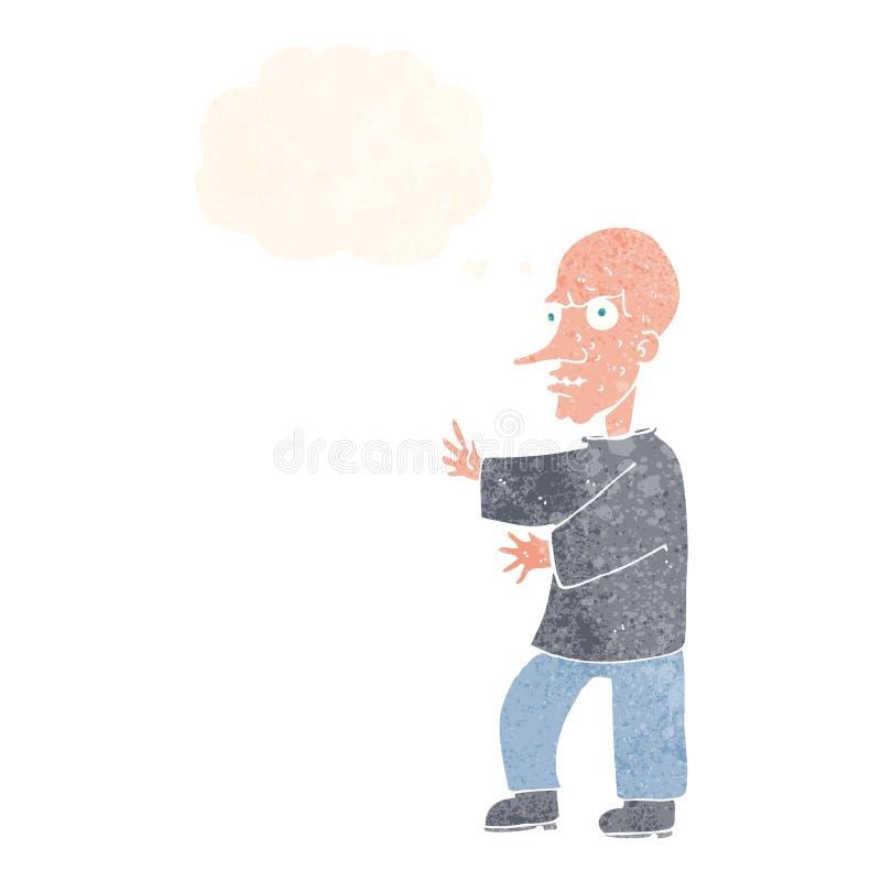 hombre de mirada malo de la historieta con la burbuja del pensamiento stock de ilustración