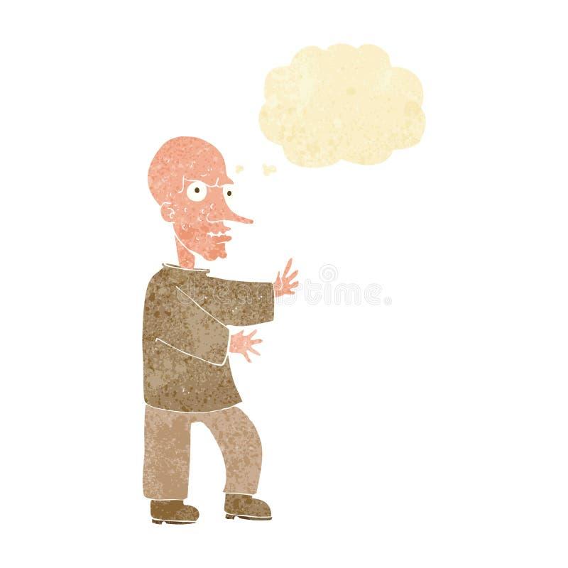 hombre de mirada malo de la historieta con la burbuja del pensamiento ilustración del vector