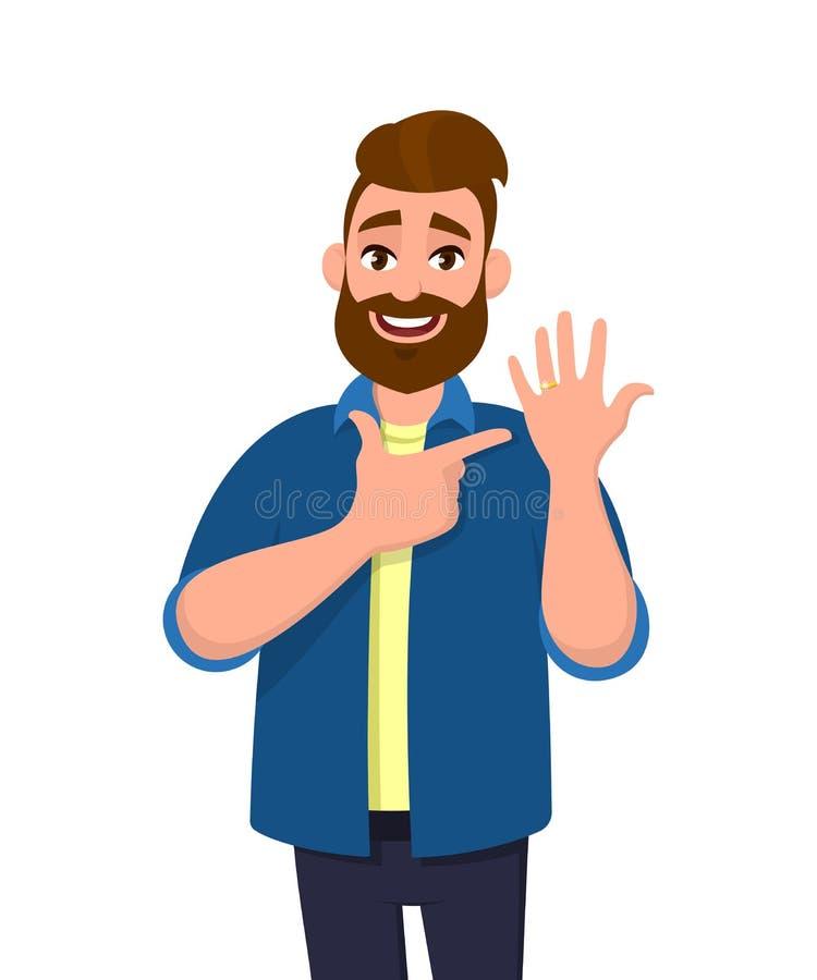 Hombre de moda barbudo joven que muestra el anillo de bodas y que señala el finger de la mano Ejemplo del diseño de carácter masc ilustración del vector