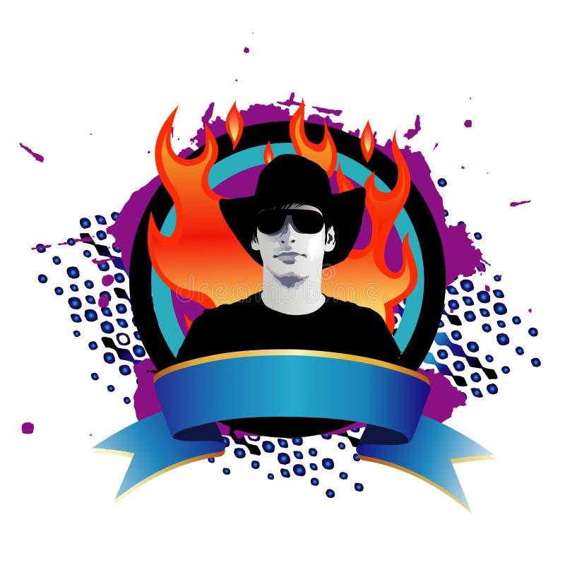 Hombre de moda en llamas libre illustration