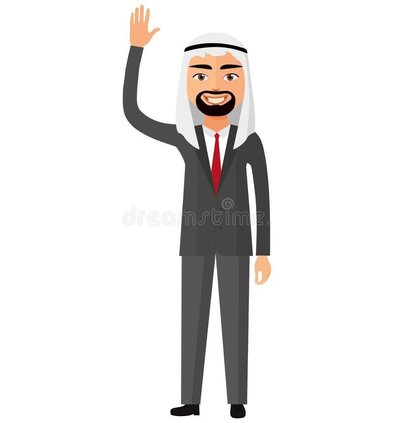 Hombre de negocios árabe alegre del saudí que agita su coche plano del vector de la mano ilustración del vector