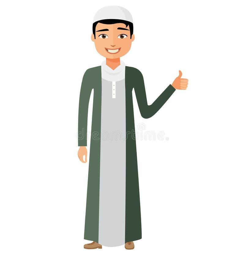 Hombre de negocios árabe alegre del saudí que muestra el pulgar encima del cartoo plano del vector libre illustration