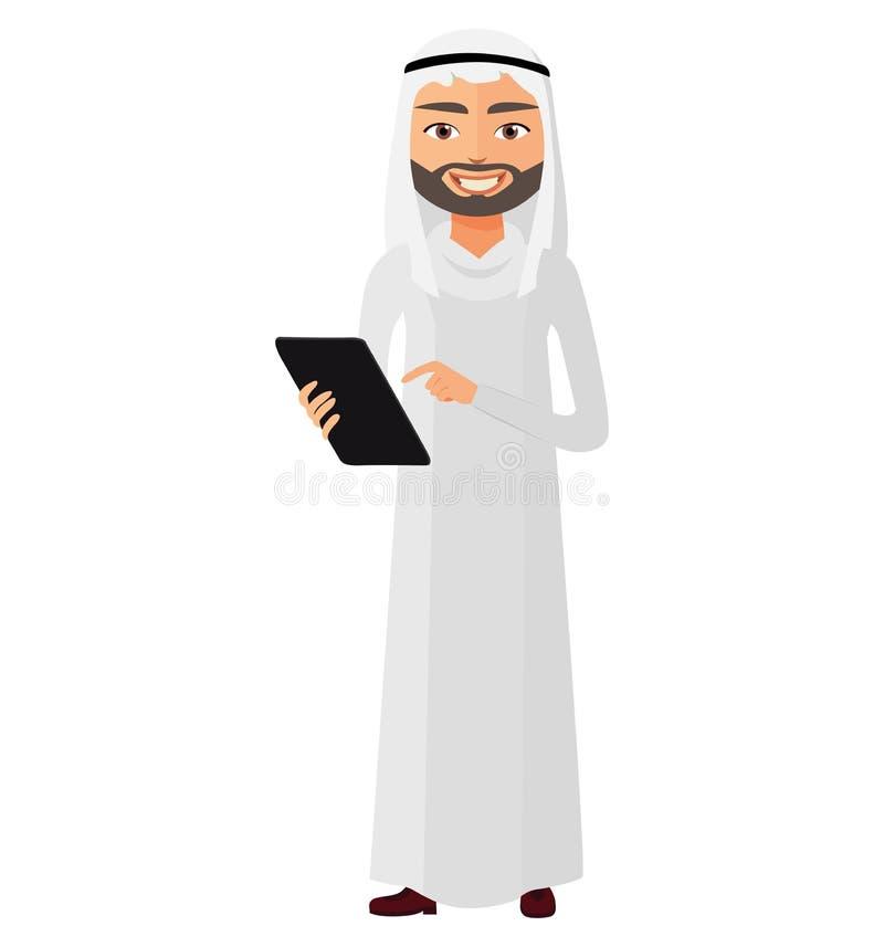 Hombre de negocios árabe del saudí con el illustrat plano del vector de la historieta de la tableta stock de ilustración