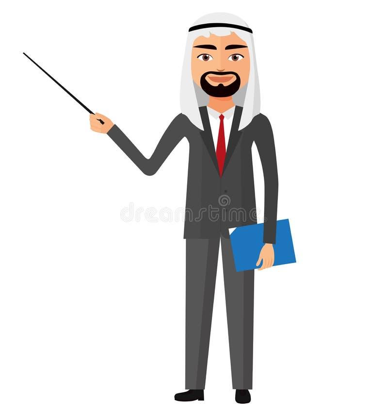 Hombre de negocios árabe de Irán del saudí con un vector plano de la historieta del indicador ilustración del vector