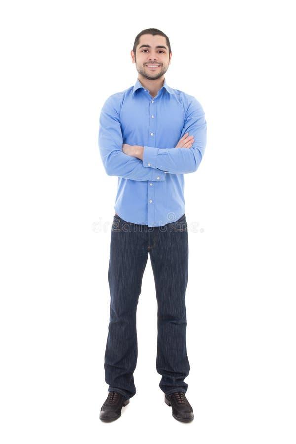 Hombre de negocios árabe joven en la camisa azul aislada en blanco fotos de archivo