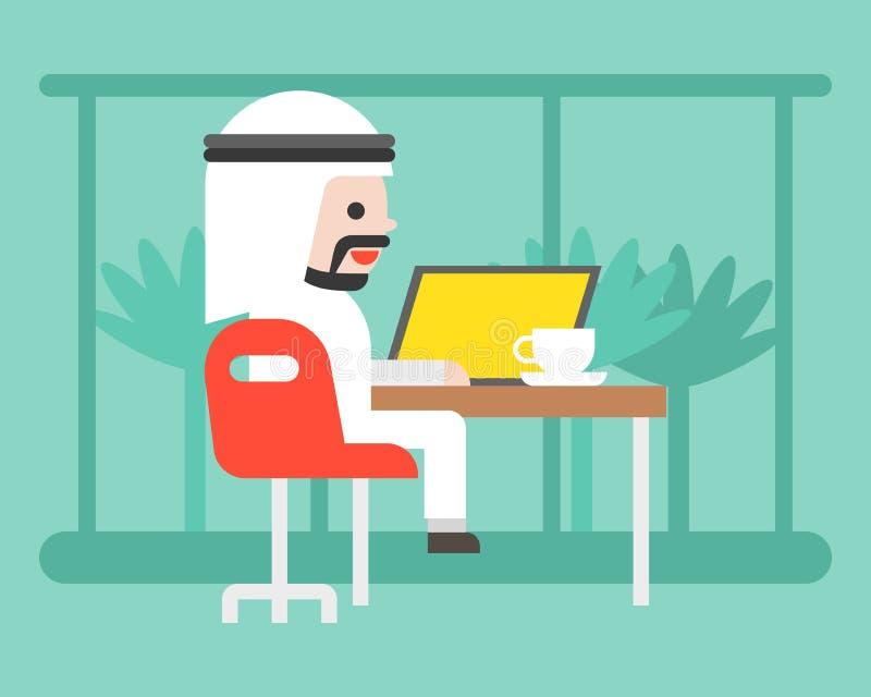Hombre de negocios árabe lindo que se sienta en café con el ordenador portátil, spac del trabajo del co ilustración del vector