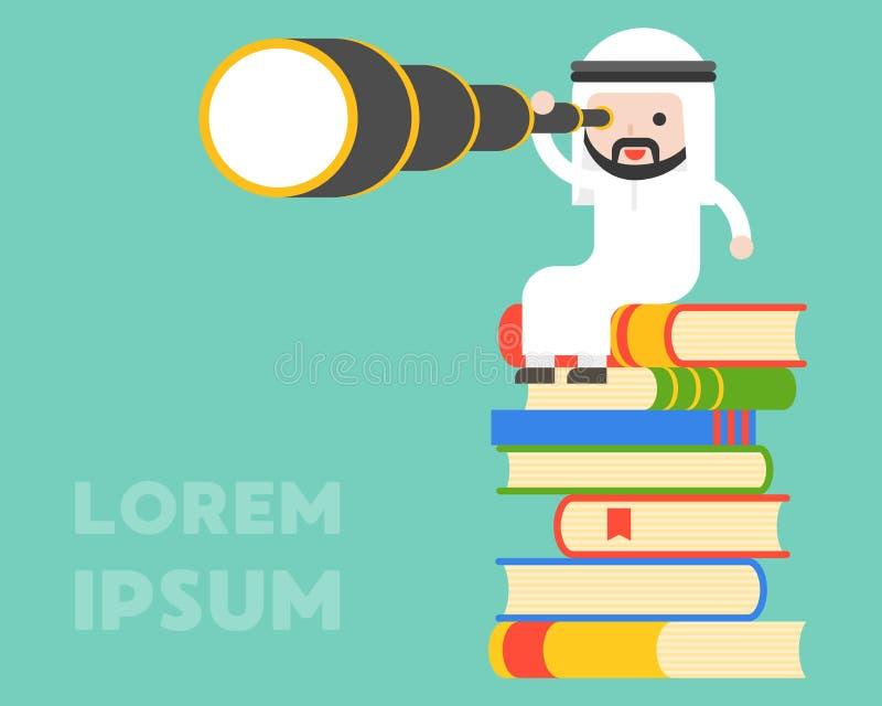 Hombre de negocios árabe lindo que se sienta en la pila de libro y de monóculo del uso ilustración del vector