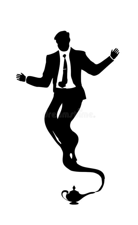 Hombre de negocios árabe de los genios de la silueta del vector Lámpara mágica del aceite para las ventas y el diseño Negro aisla stock de ilustración