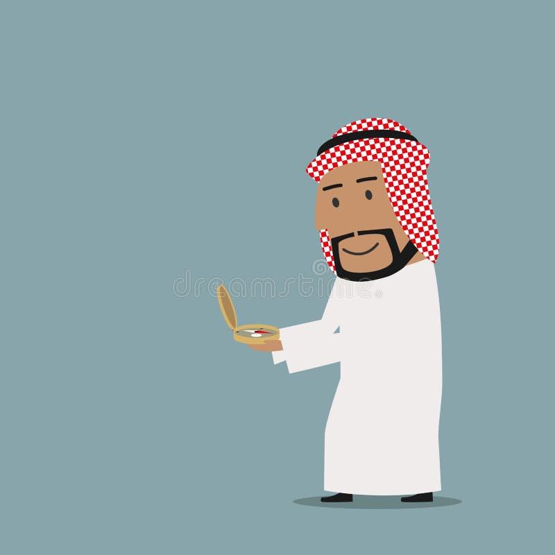 Hombre de negocios árabe que camina sobre el compás al éxito ilustración del vector