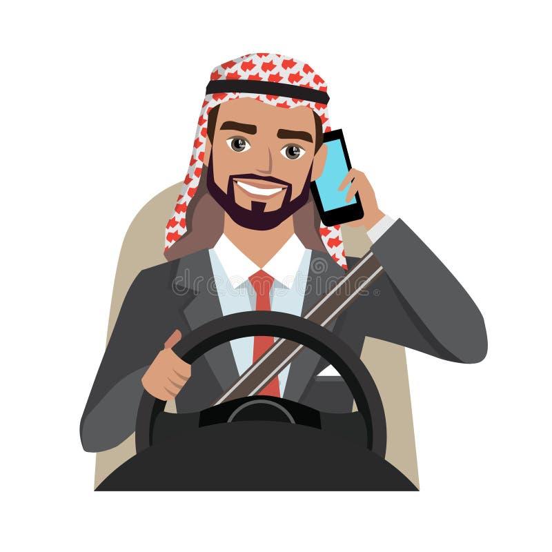 Hombre de negocios árabe que conduce un coche que habla en el teléfono ilustración del vector
