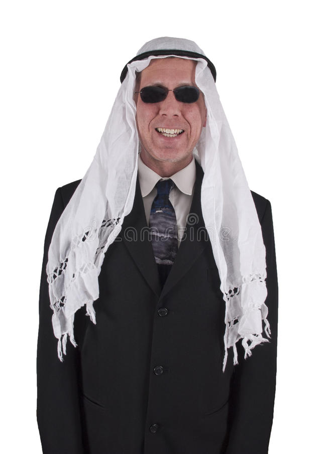 Hombre de negocios árabe sonriente divertido aislado imágenes de archivo libres de regalías