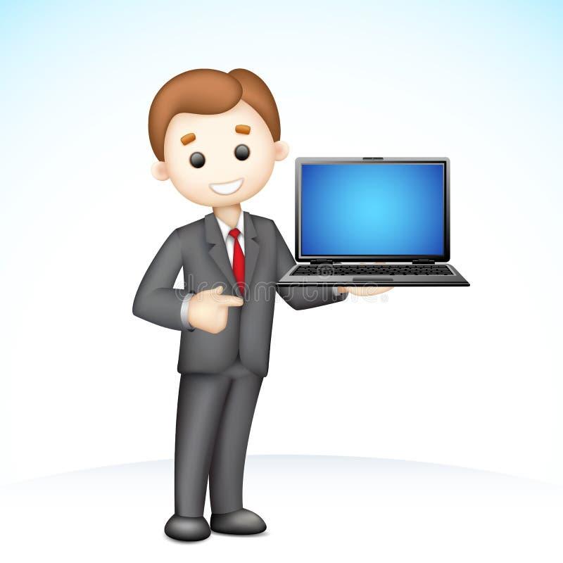 hombre de negocios 3d que muestra la computadora portátil libre illustration