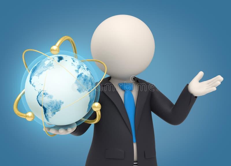 hombre de negocios 3d que sostiene un globo atómico de la tierra stock de ilustración