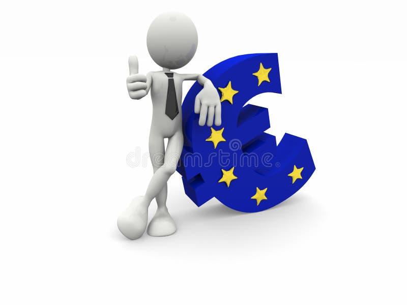 hombre de negocios 3d y el símbolo euro libre illustration