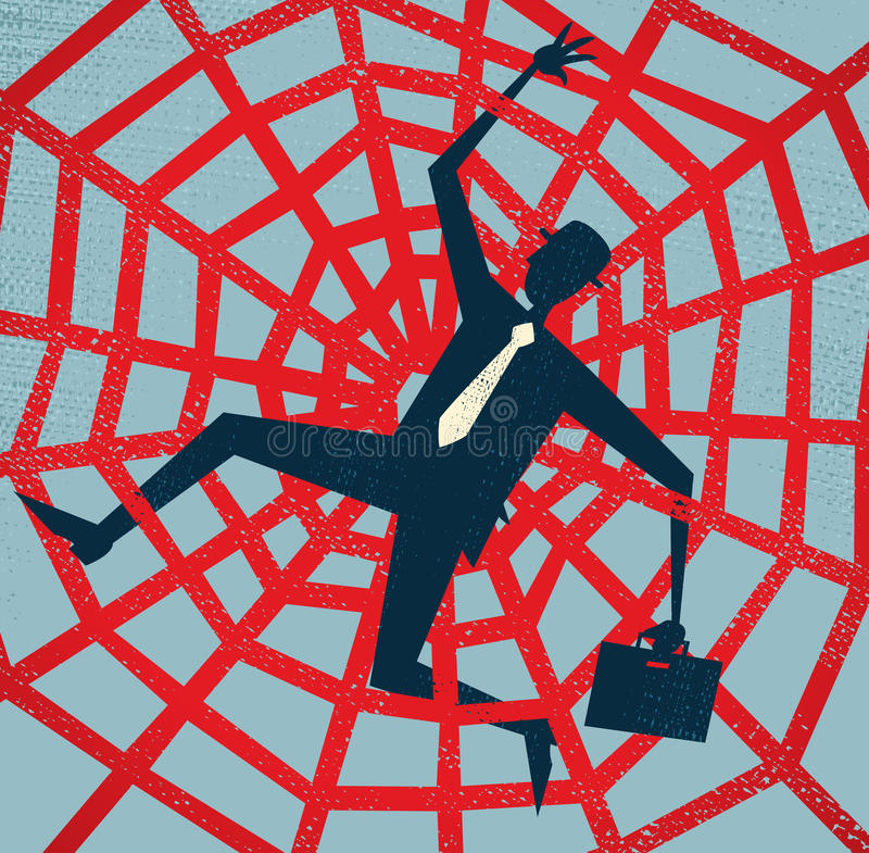 Hombre de negocios abstracto cogido en un Web de arañas. ilustración del vector