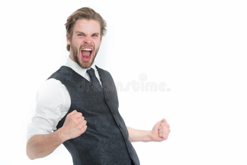 Hombre de negocios acertado barbudo elegante en el chaleco aislado en blanco imagenes de archivo