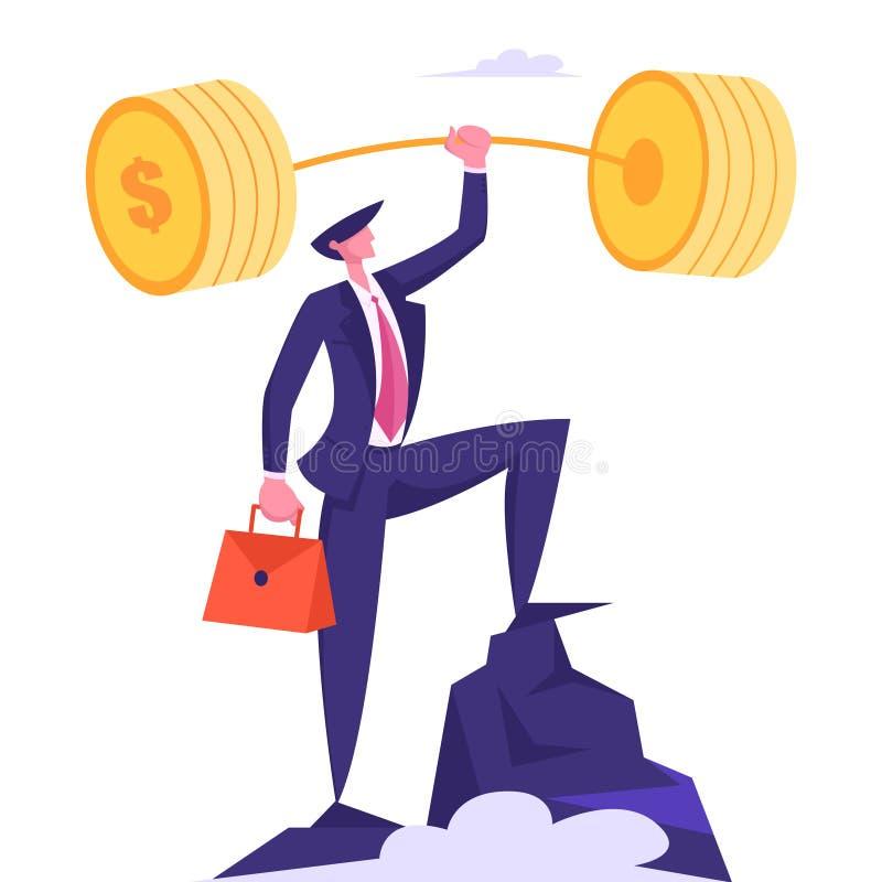 Hombre de negocios acertado con el soporte disponible encima de la alta roca, logro de la meta, beneficio del Barbell del oro del ilustración del vector