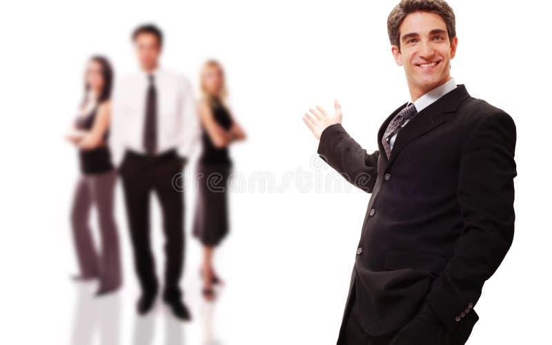 Hombre de negocios acertado con hola imagen de archivo