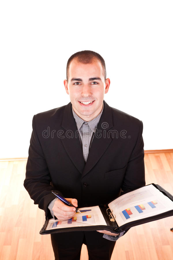 Hombre de negocios acertado con los documentos fotografía de archivo