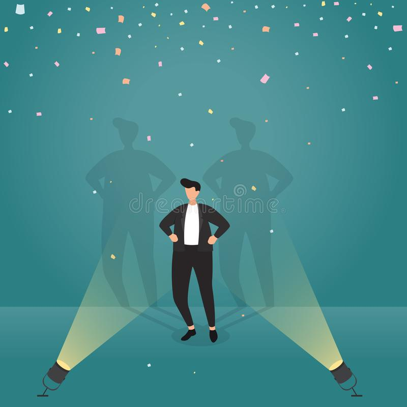 Hombre de negocios acertado Confident con el ejemplo del concepto del negocio del confeti del proyector stock de ilustración