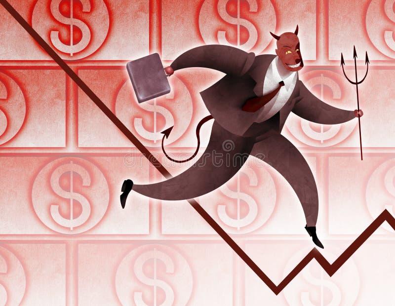 Hombre de negocios acertado del diablo ilustración del vector