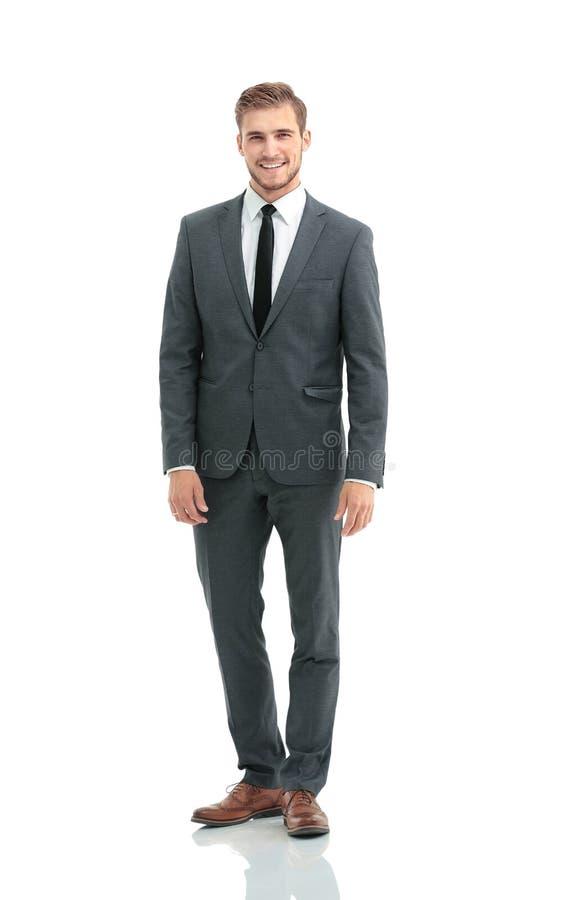 Hombre de negocios acertado en el fondo blanco fotografía de archivo
