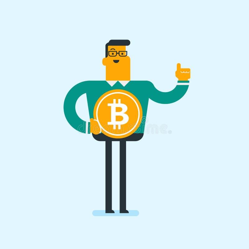 Hombre de negocios acertado joven con la moneda del bitcoin libre illustration